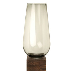 Tinted Glass Vase with Paulownia Holder H42 £44.00