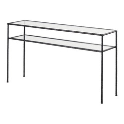 Tempered Glass and Black Hammered Metal Console Table £432.00