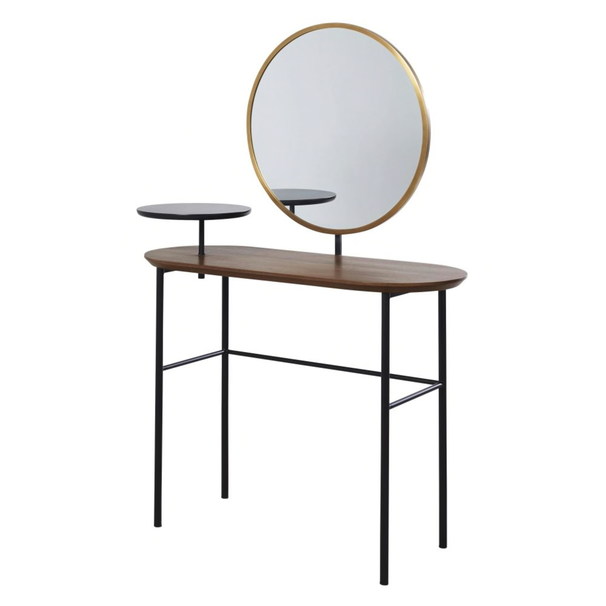 Dressing table with mirror made of imitation walnut and black metal£378.00