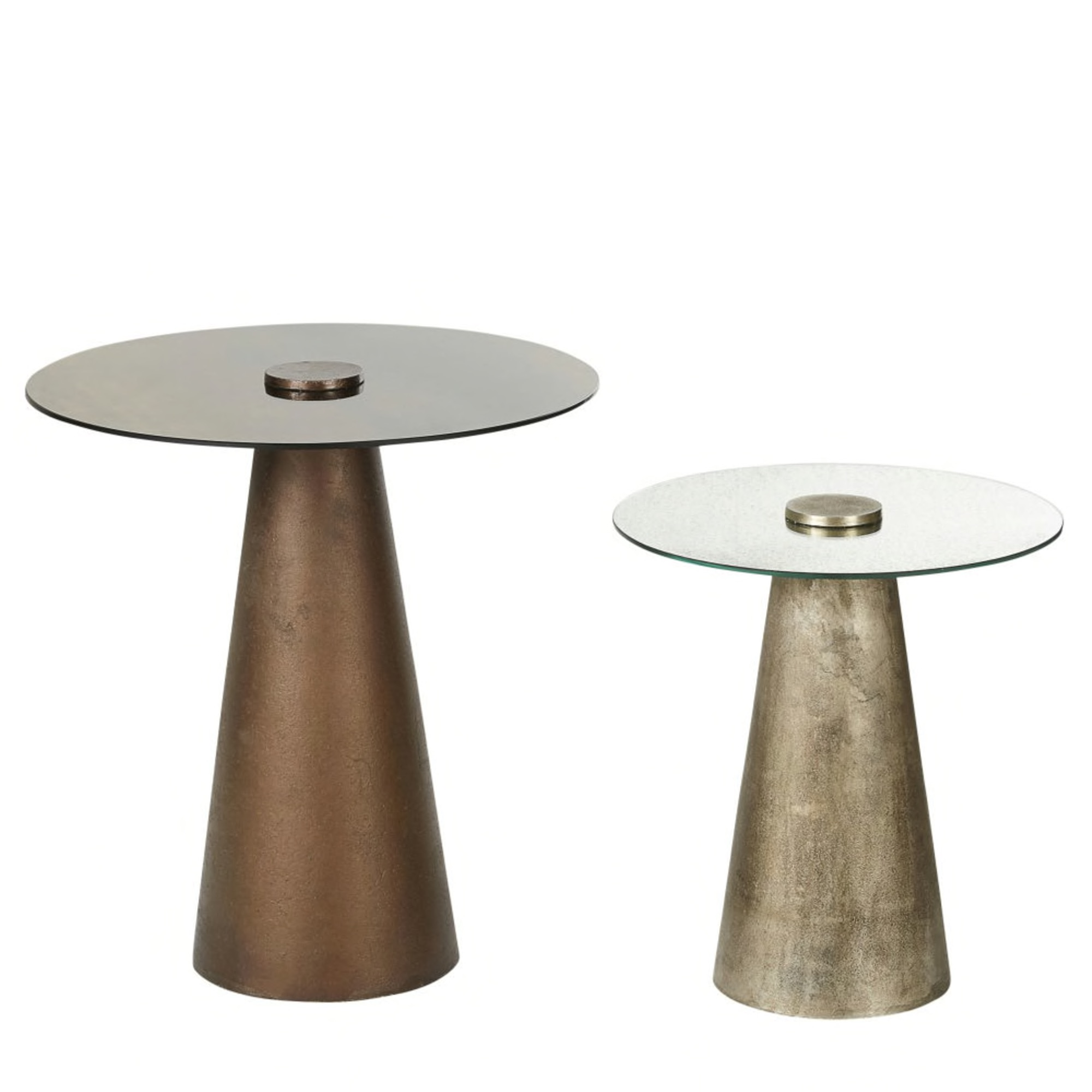 Silver and Bronze Metal and Glass Side Tables (x2) £165.00