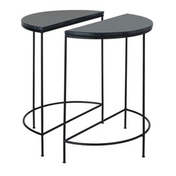 2 Metal and Black Marble Bedside Tables £192.00