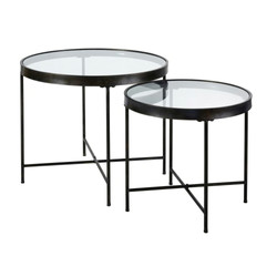 Black Metal and Glass Side Tables (x2) £176.00