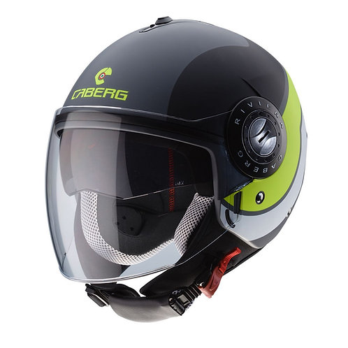 Caberg Riviera V3 Sway Openface Helmets Matt Anthracite/Black/Yellow