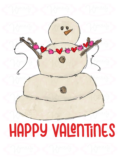 Happy Valentines Snowman