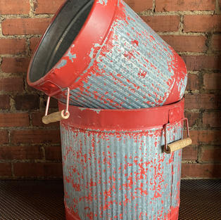 Red Metal Distressed Buckets