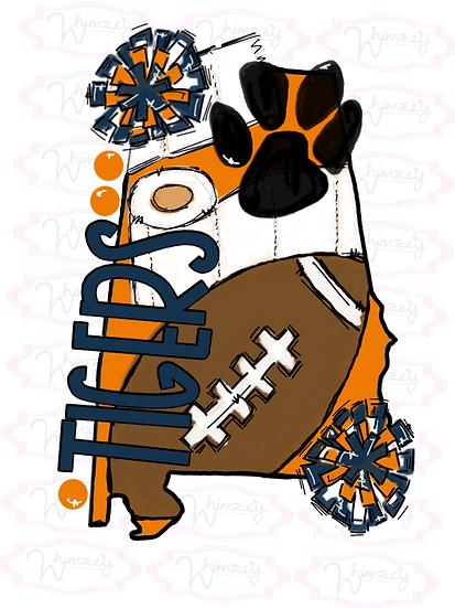Auburn- State Football Tee