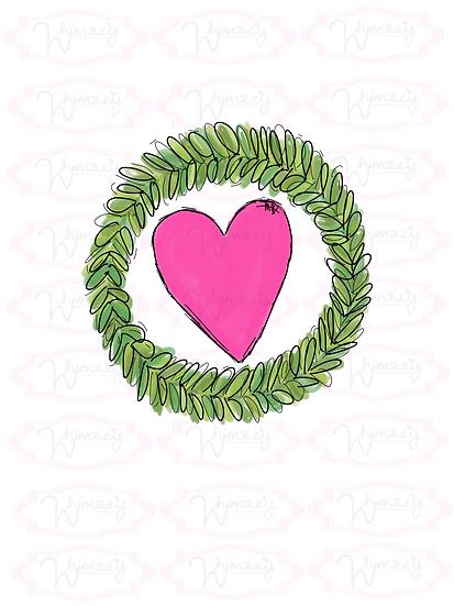 Digital Heart Green Wreath Download