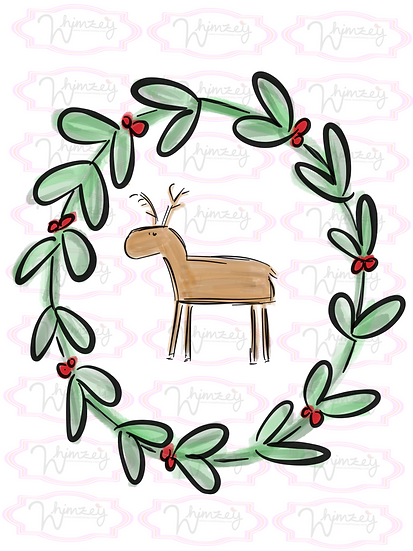 Digital Wreath with Stick Reindeer File