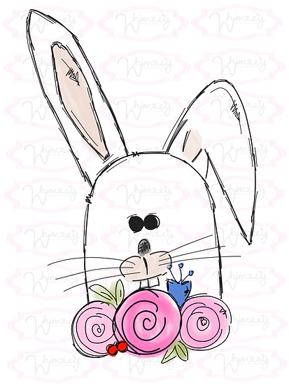 White Bunny with Flowers Download