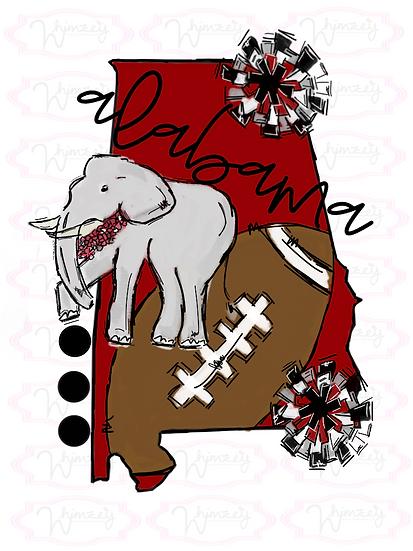Alabama- State Football Tee