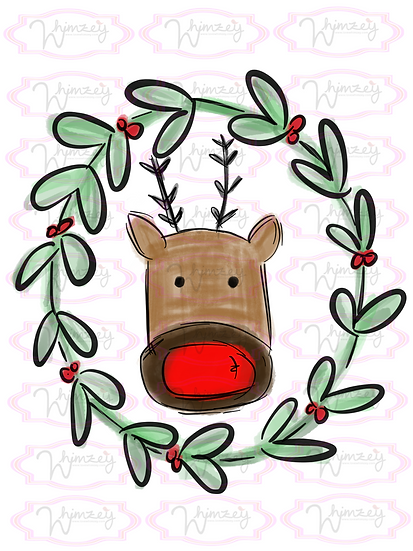 Digital Wreath Reindeer Face File
