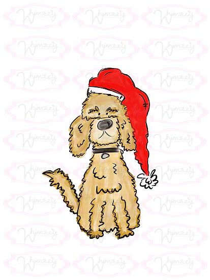 Digital Goldendoodle Santa Download
