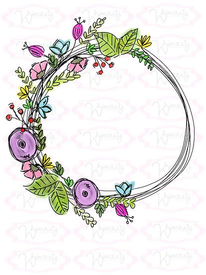 Digital Flower Wreath Download