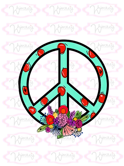 Digital Mint Floral Red Dot Peace Sign Download