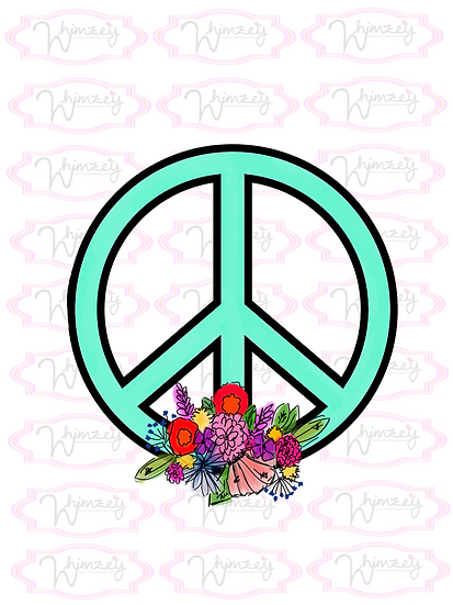 Digital Mint Floral Peace Sign Download
