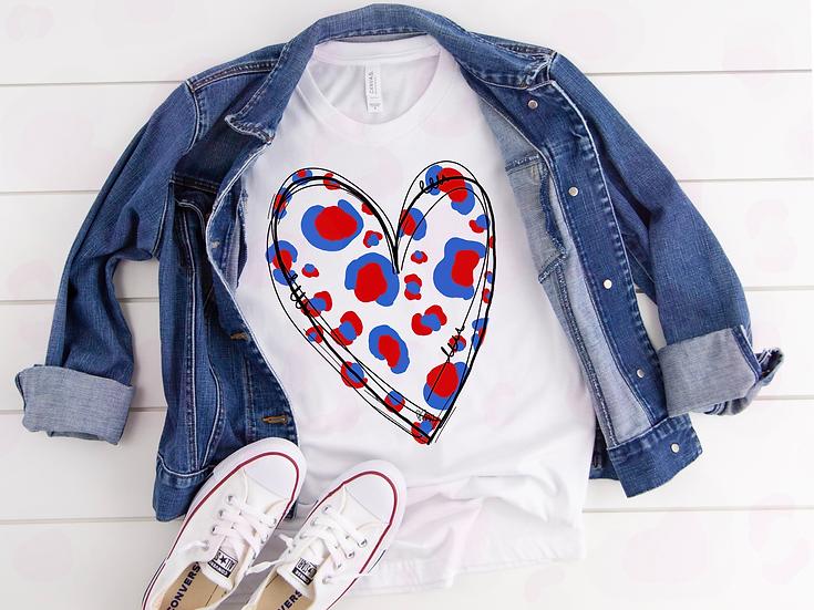 Patriotic Cheetah Heart