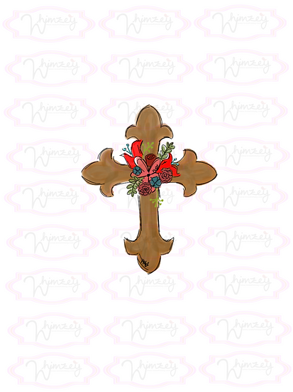 Digital Cross with Flowers Download