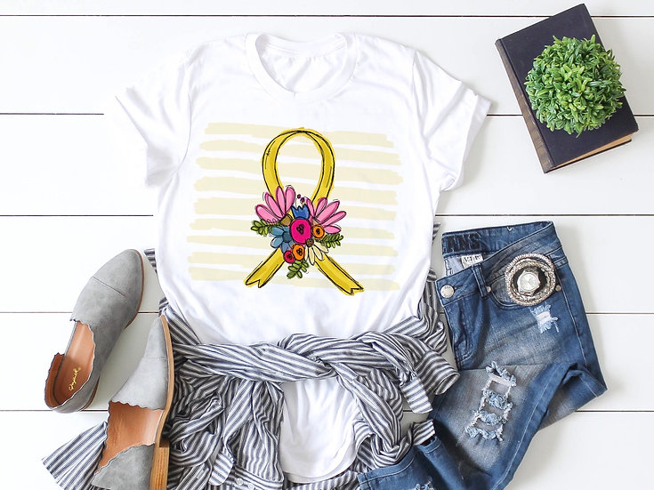 Childhood Cancer Ribbon w/ Flowers