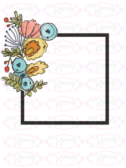 Seaside Square Floral Frame