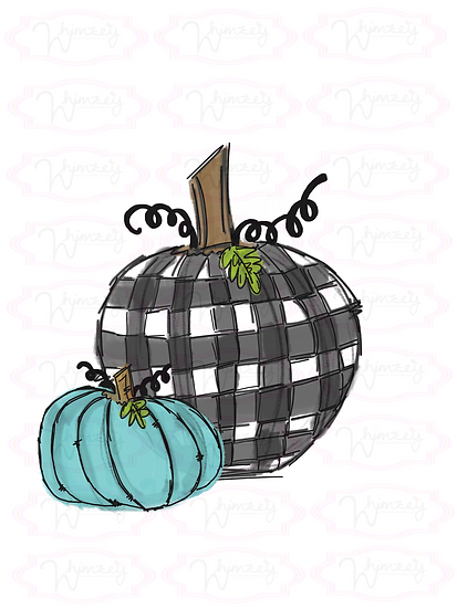 Farm House Pumpkins with Buffalo Plaid
