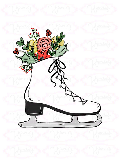 Digital Ice Skate with flowers File