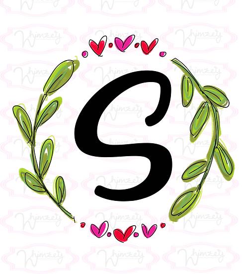 Digital Triple heart leaf wreath