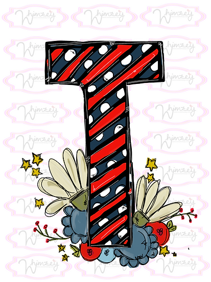 Letter T and flowers