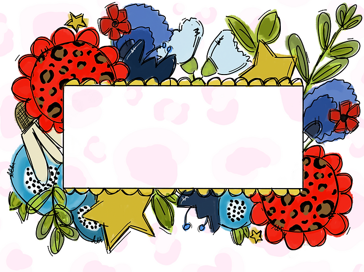 Blank Frame with Cheetah Flowers