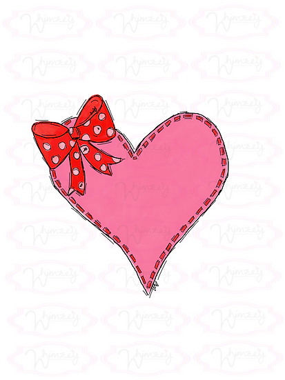 Digital Stitched Heart with Bow Download