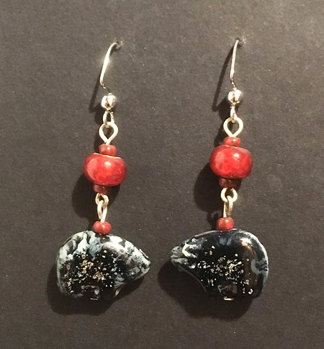 Galloway Czech Glass Bear Earrings