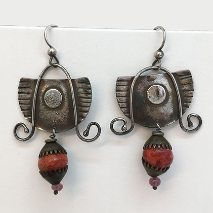 McLain Sterling and Coral Earrings