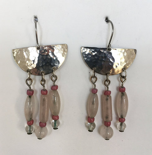 Corbett Sterling Silver and Rose Quartz Earrings