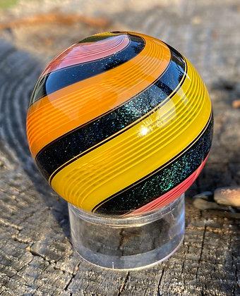"Hot House Glass 1.5"" Jelly Lattice Dichroic Twist Marble"