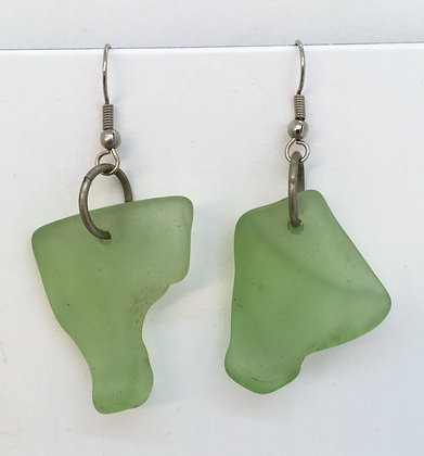 White Light Seaglass Earrings