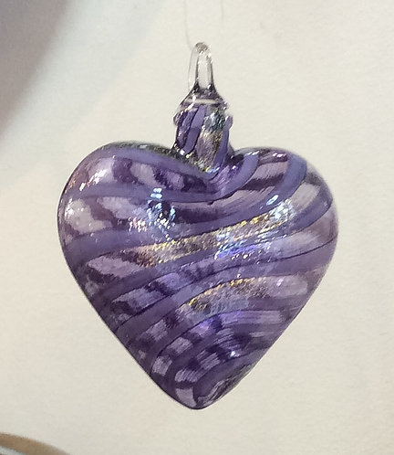 Glass Eye Studio Designer Purple Jasmine Heart Ornaments
