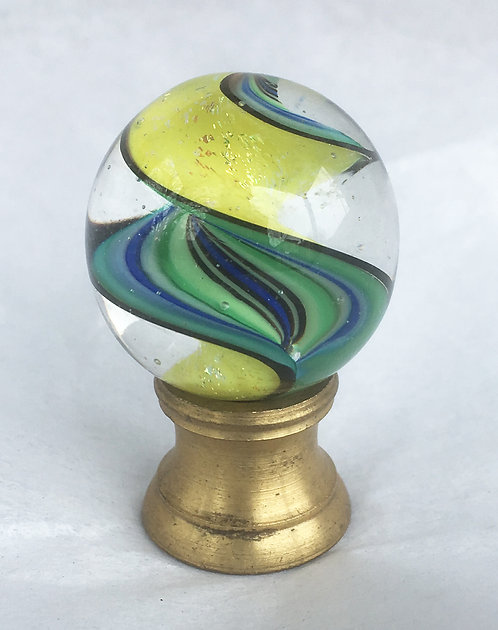 "Fig Glass .875"" Yellow Dichroic Spiral"
