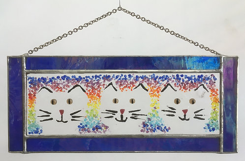 Goldsmith Fused Glass Panel - Cats