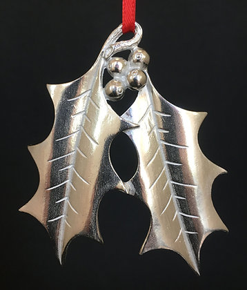 Vilmain Pewter Holly Leaf Ornaments