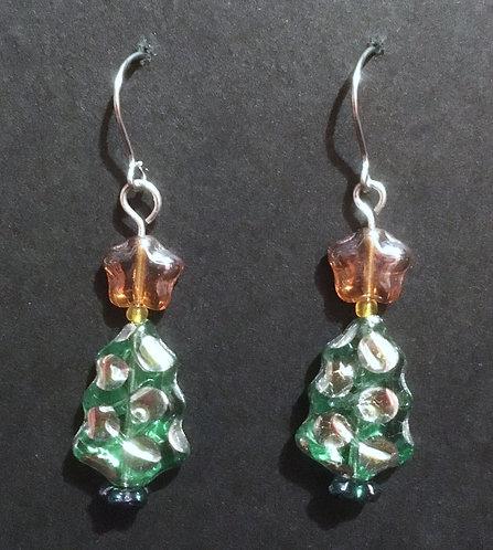 Galloway Czech Glass Christmas Tree Earrings