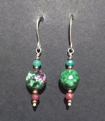 Galloway Ruby, Emerald, Zoisote Earrings