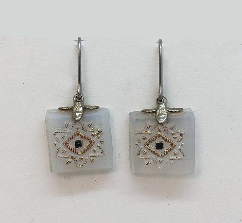 Joyas Lindas Opalish Antique Glass Earrings