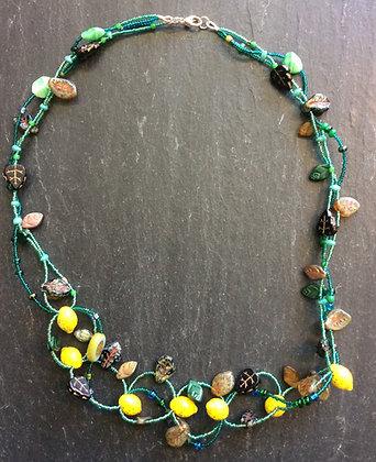 Galloway Beaded Necklace - Lemony Czech Glass