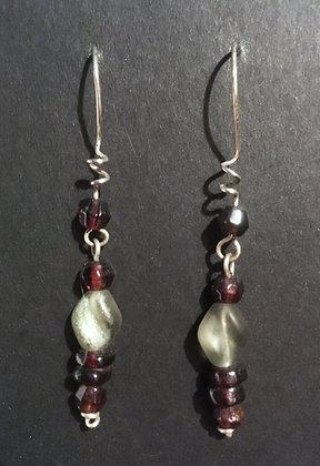 Galloway Czech Glass & Garnet Earrings