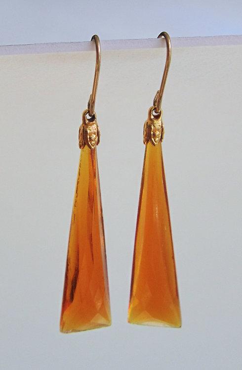 Joyas Lindas Faux Citrine Antique Glass Earrings