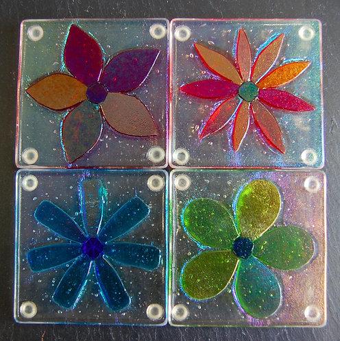 Shepardson Fused Glass Coaster Set