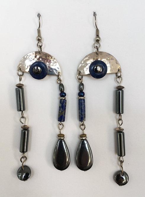 Corbett Sterling Silver, Hematite & Lapis Earrings