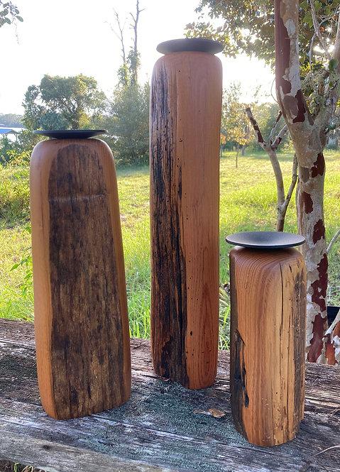 Walnut Hills Chestnut Candle Holder Set