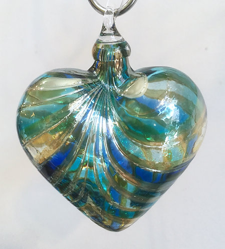 Glass Eye Studio Designer Marina Blue Heart Ornaments