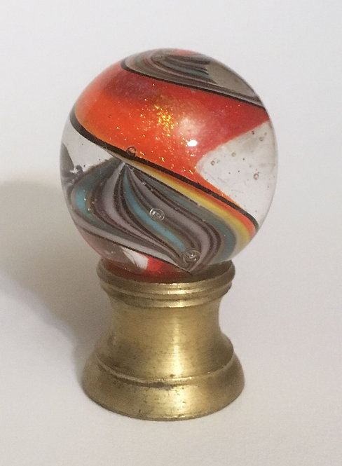 Fig Lampworked Marble Orange Ribbon