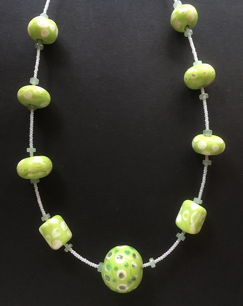 Galloway Green Apple Lampworked Beads Necklace